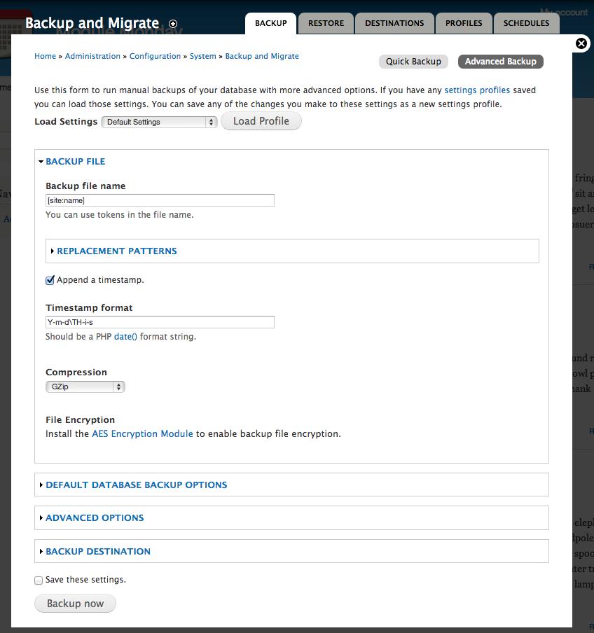 Screenshot of Backup and Migrate settings