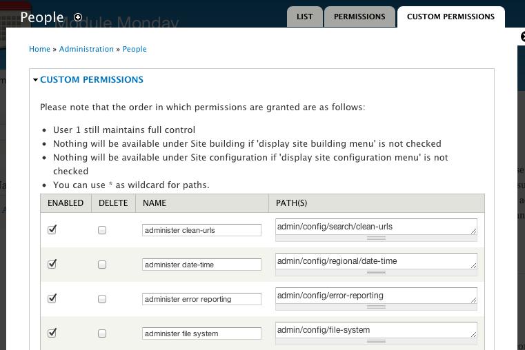 Screenshot of custom permissions administration screen