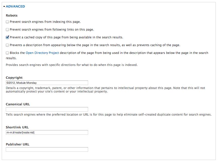 Screenshot of advanced options