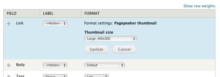 Screenshot of PagePeeker setup