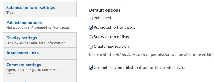 Screenshot of settings screen