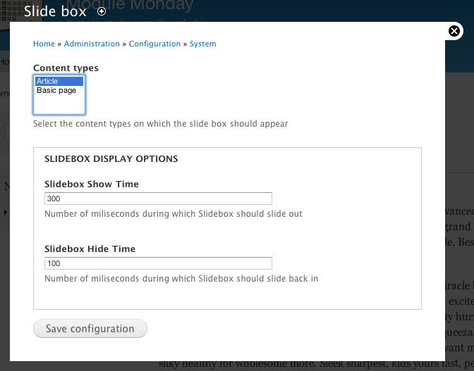 Screenshot of Slidebox settings
