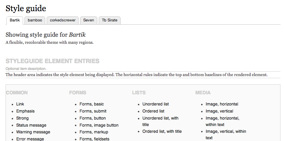 Screenshot of styleguide overview
