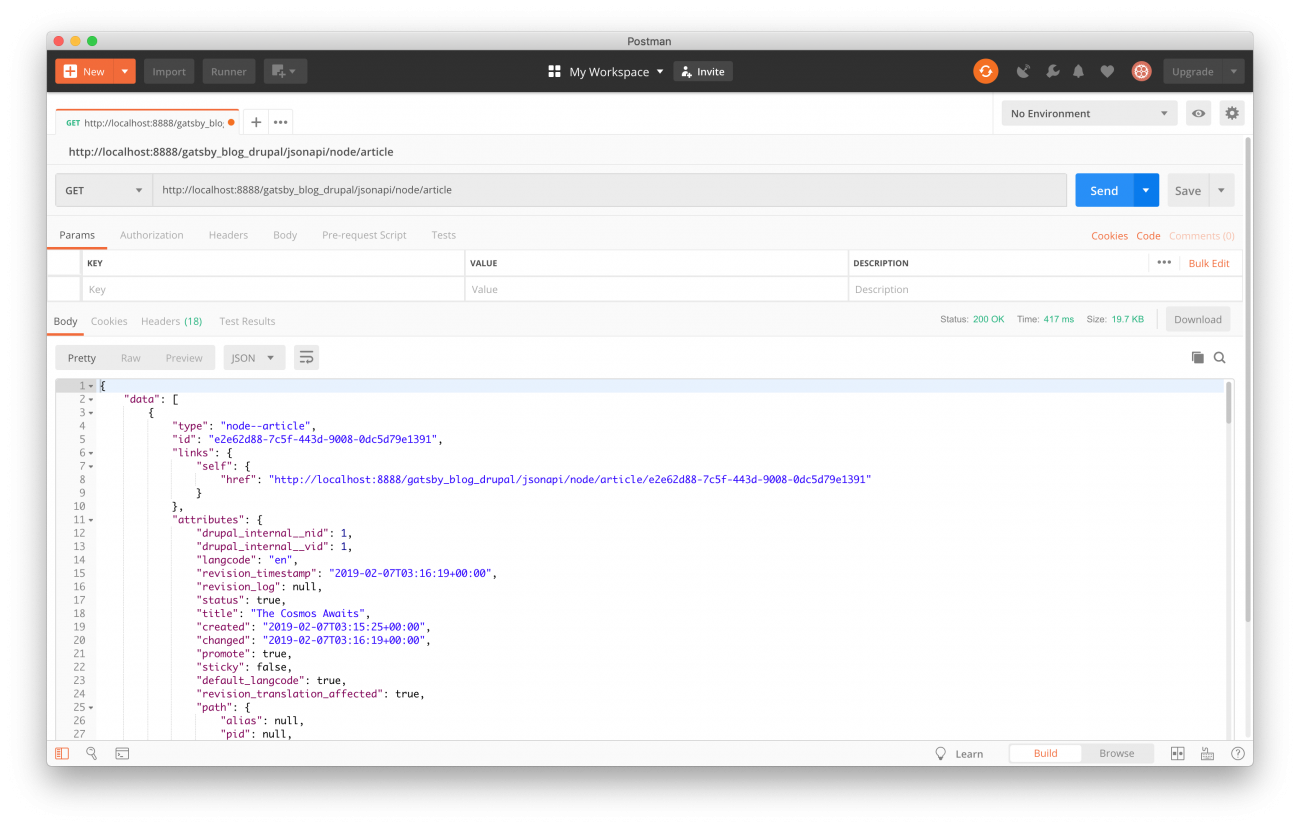 Postman application showing article JSON returned from Drupal