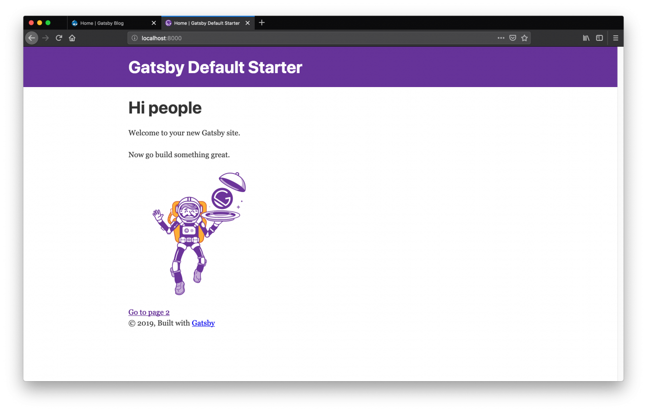 Gatsby landing page after creating new project