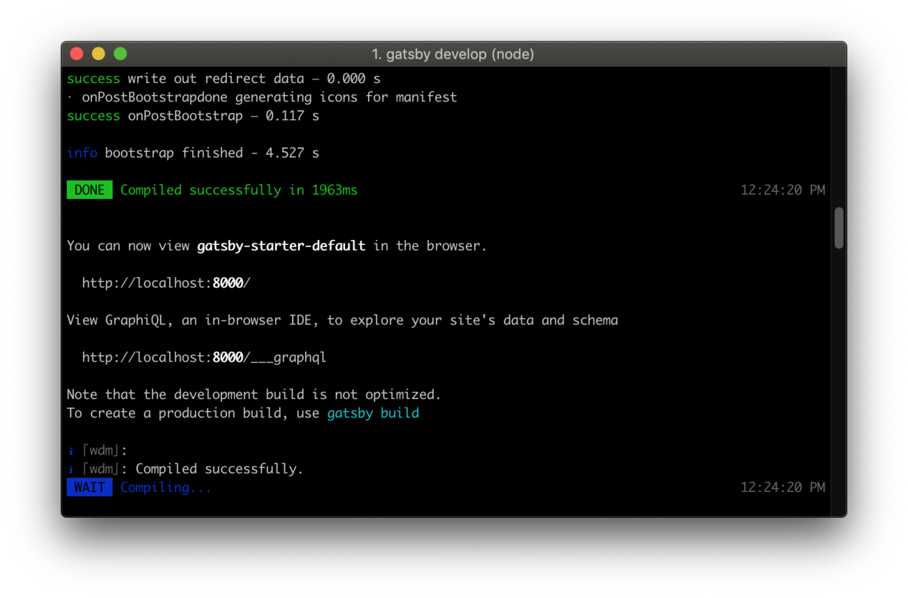 Command line showing details about accessing GraphiQL IDE