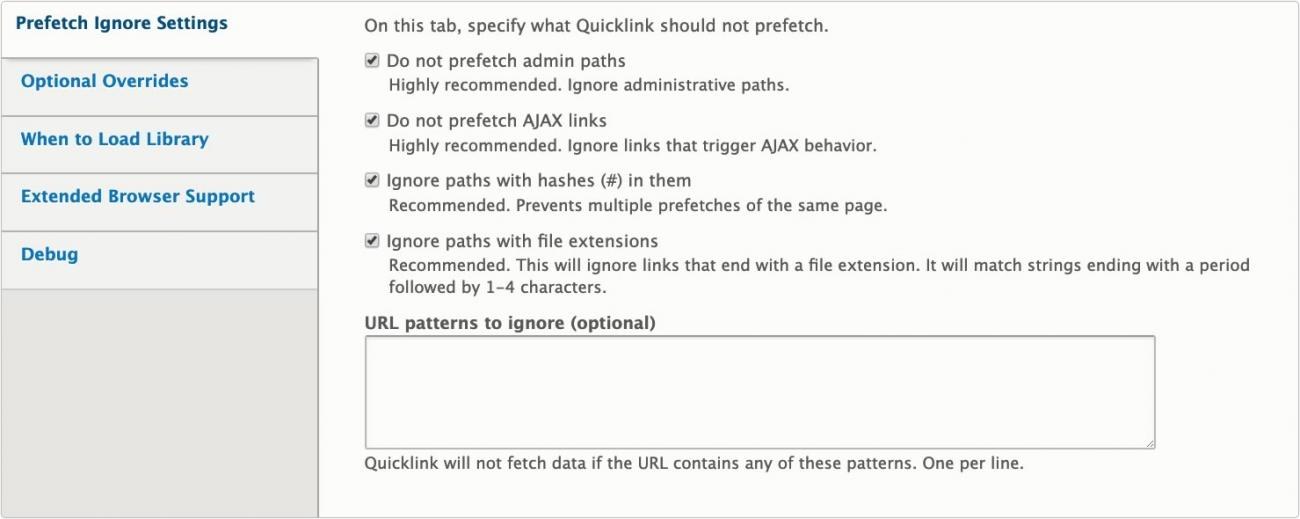 Quicklink configuration form