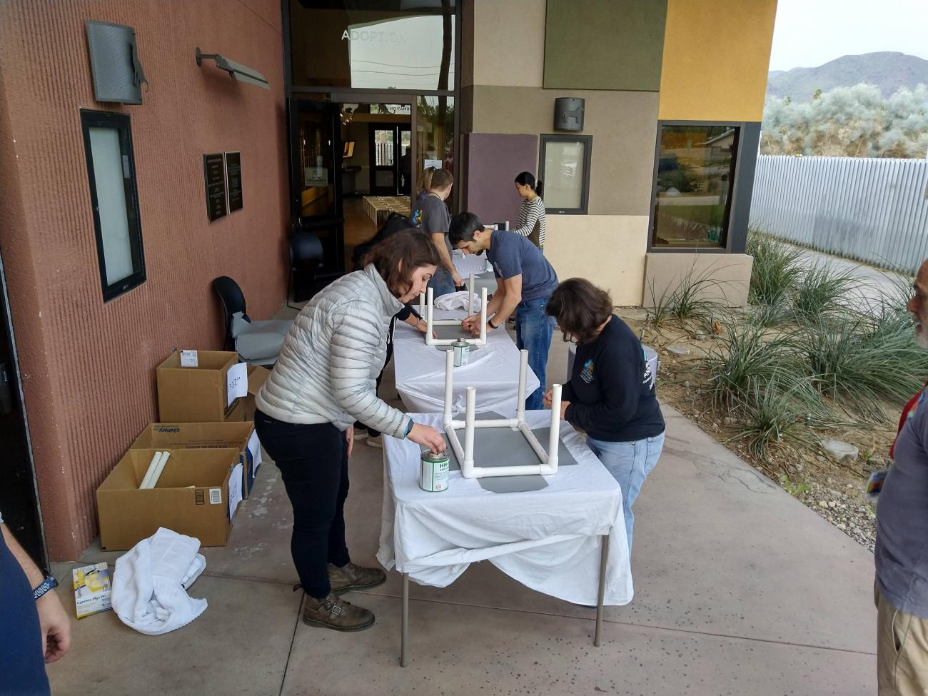 Building cat beds at the Palm Springs Animal Shelter
