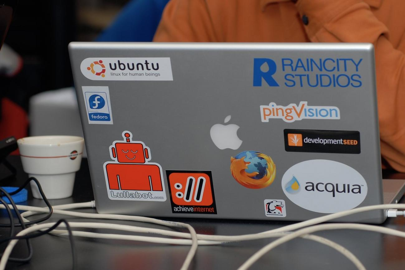 Drupal stickers on a macbook