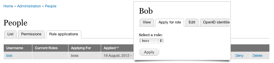 Screenshot of Apply for Role management screen