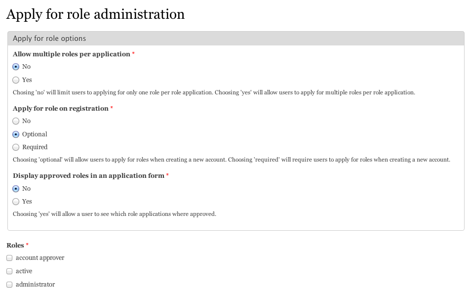Screenshot of Apply for Role configuration form