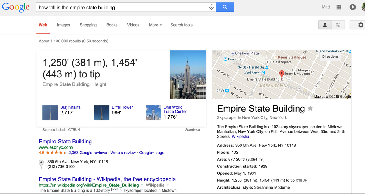 How tall is the Empire State Building - 443m to the tip