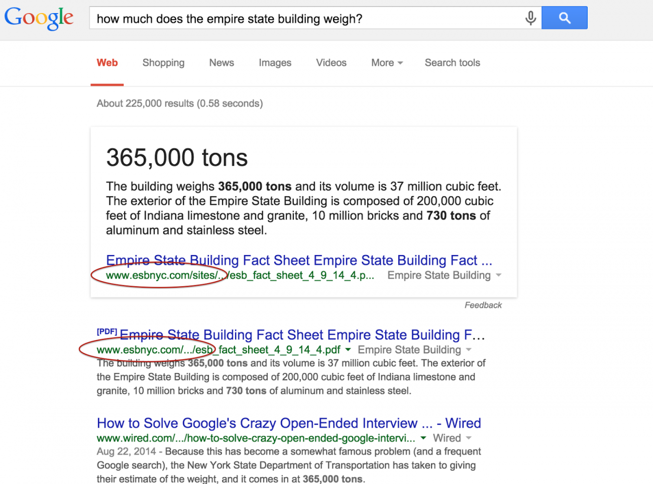 How much does the Empire State Building Weigh? - 365,000 tons