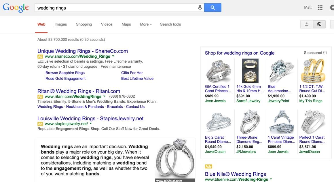 Search results page for Wedding Rings