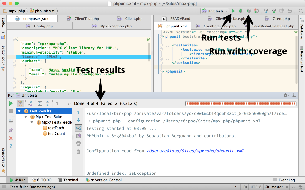 Running PHPUnit tests from PhpStorm