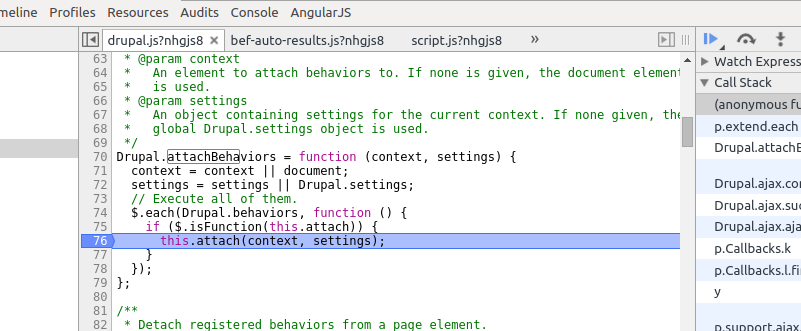 Google Chrome Debugging Console