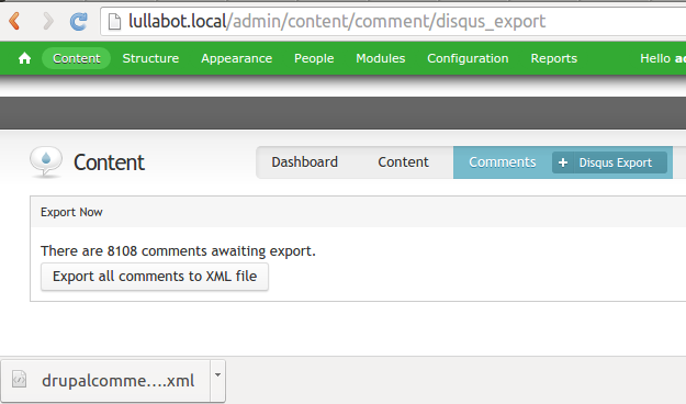Exported comments
