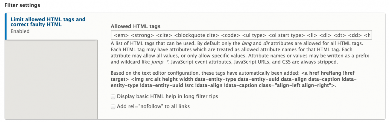 Settings for the limit HTML filter