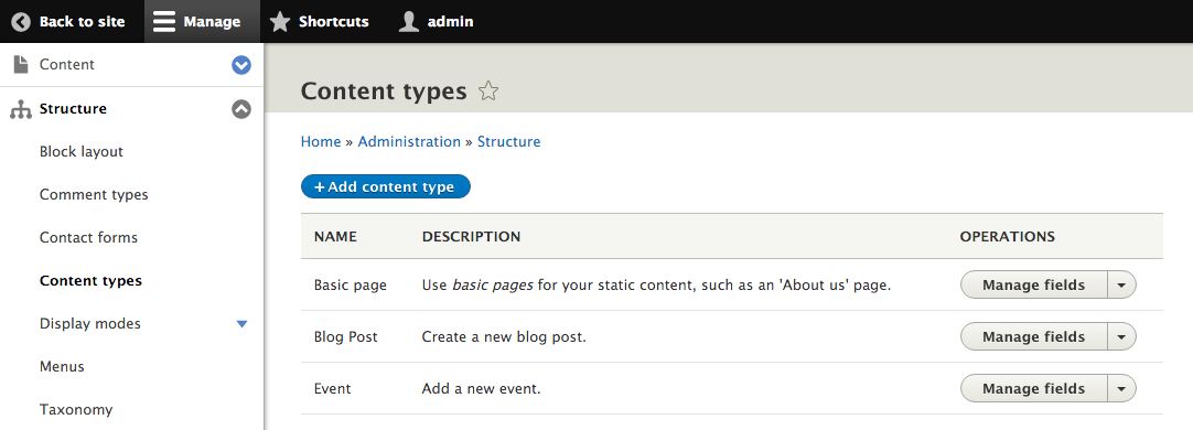 Admin screen to manage content types.
