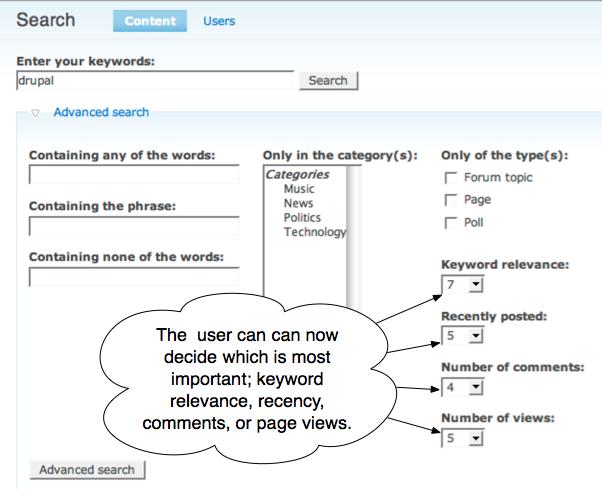 Drupal's search module and scoring factors | Lullabot