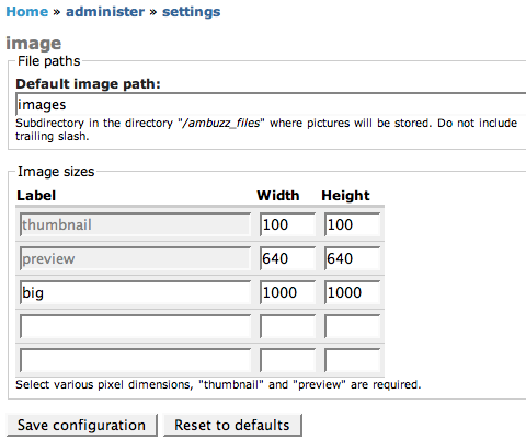 Image sizes settings