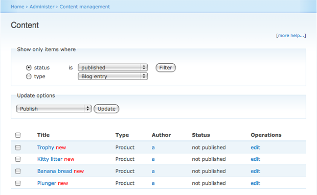 Content administration screen