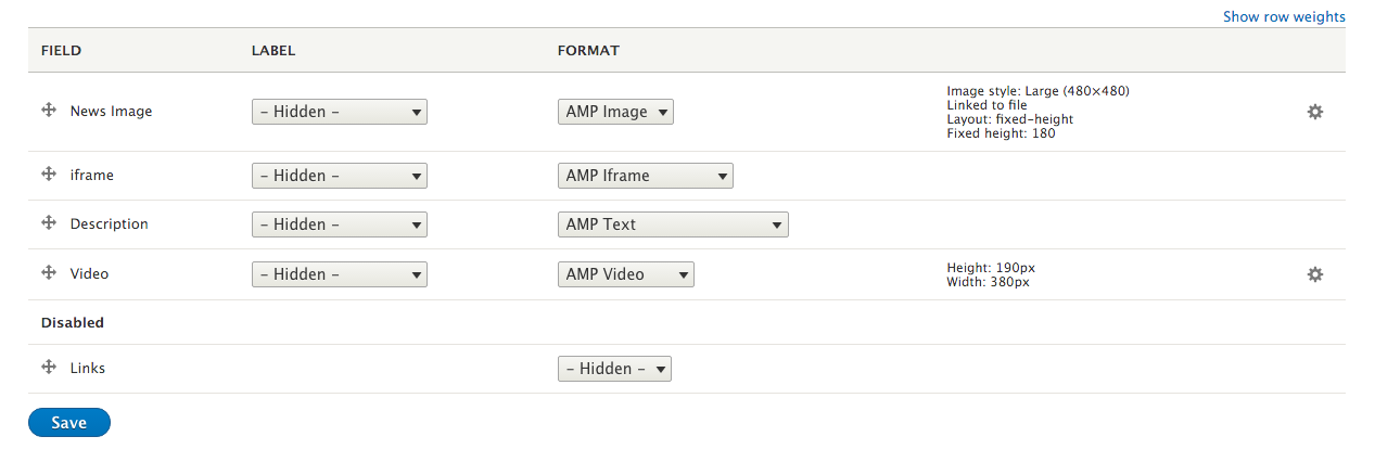 Field formatter settings for AMP display mode: list of fields and the AMP field formatters selected for each
