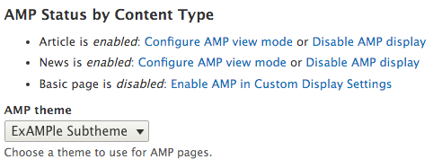 Select the AMP theme on the AMP configuration page