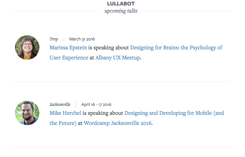 Upcoming talks page
