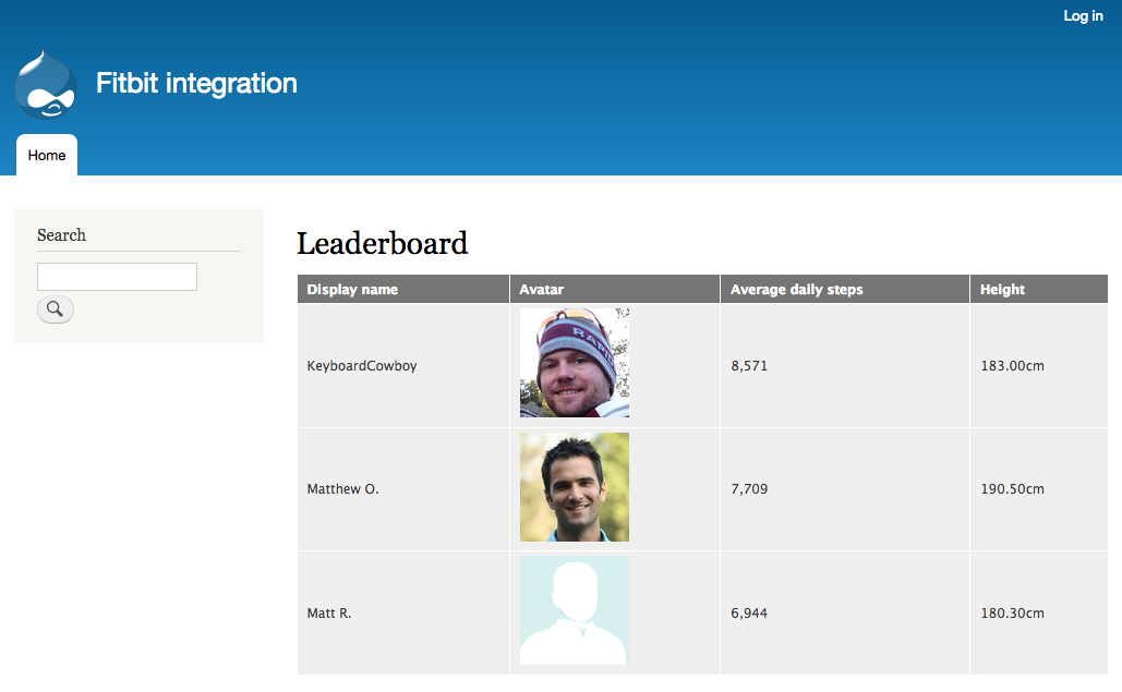 Screenshot of our rudimentary Fitbit leaderboard