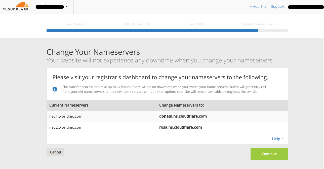 Nameserver screen