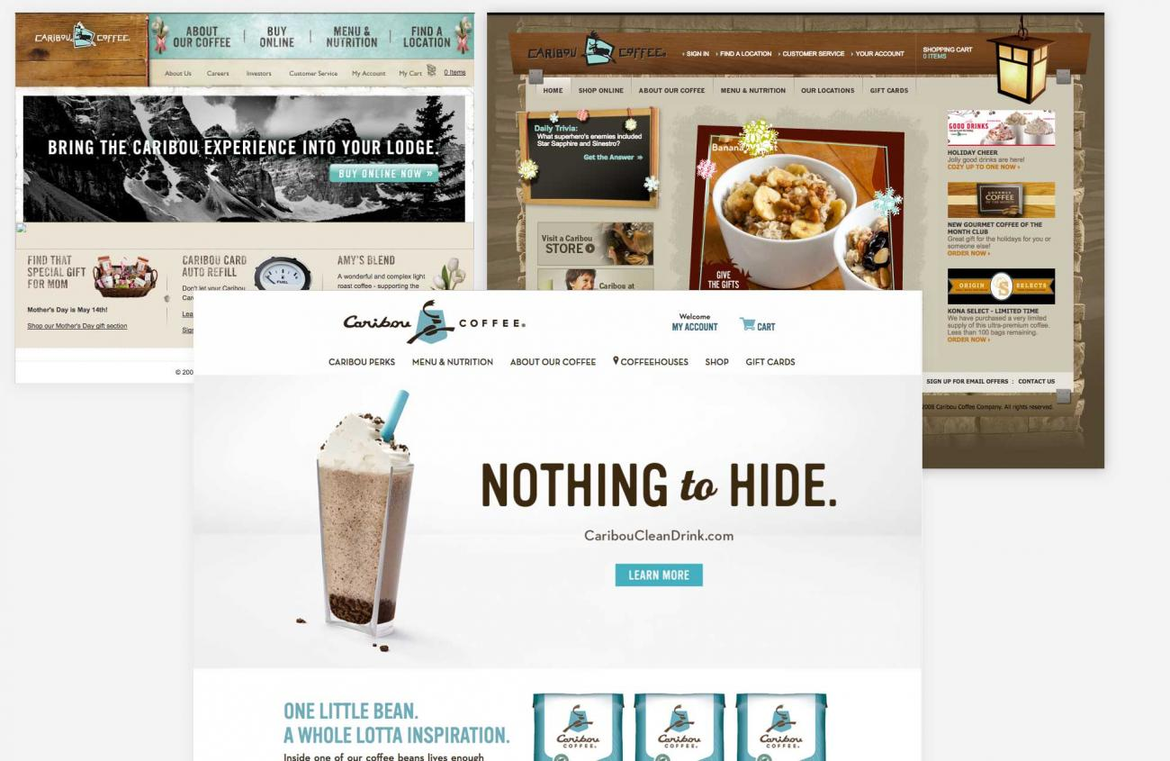 Skeuomorphic to flat design examples using caribou coffees website