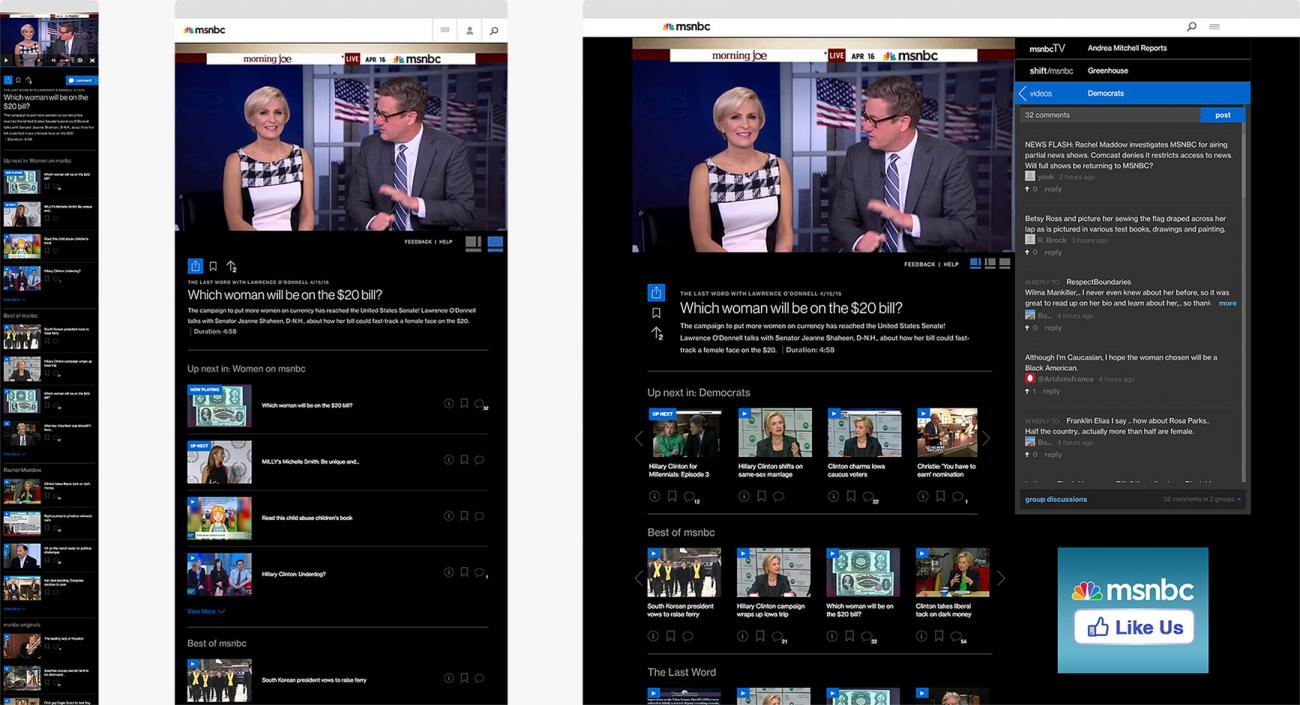 "MSNBC ""Watch Pages"" Full Mockup across breakpoints"