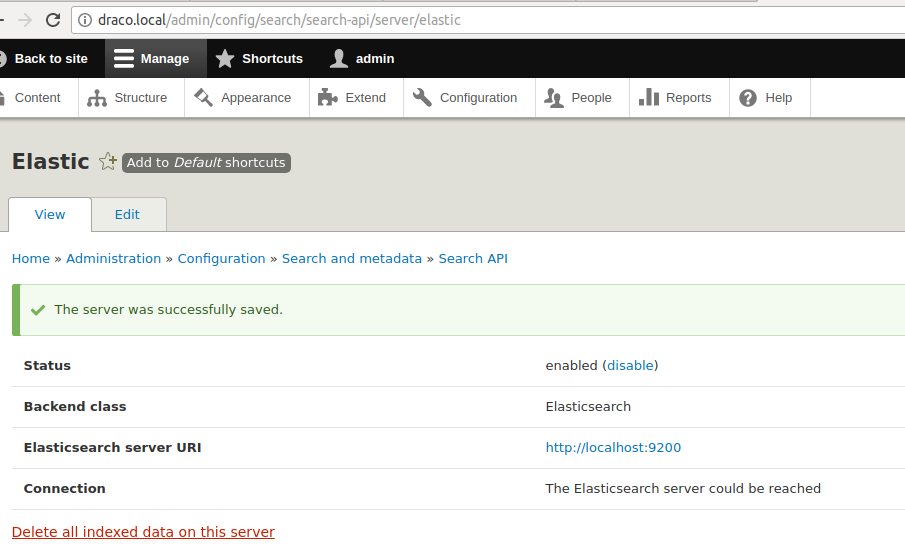 Elasticsearch server added