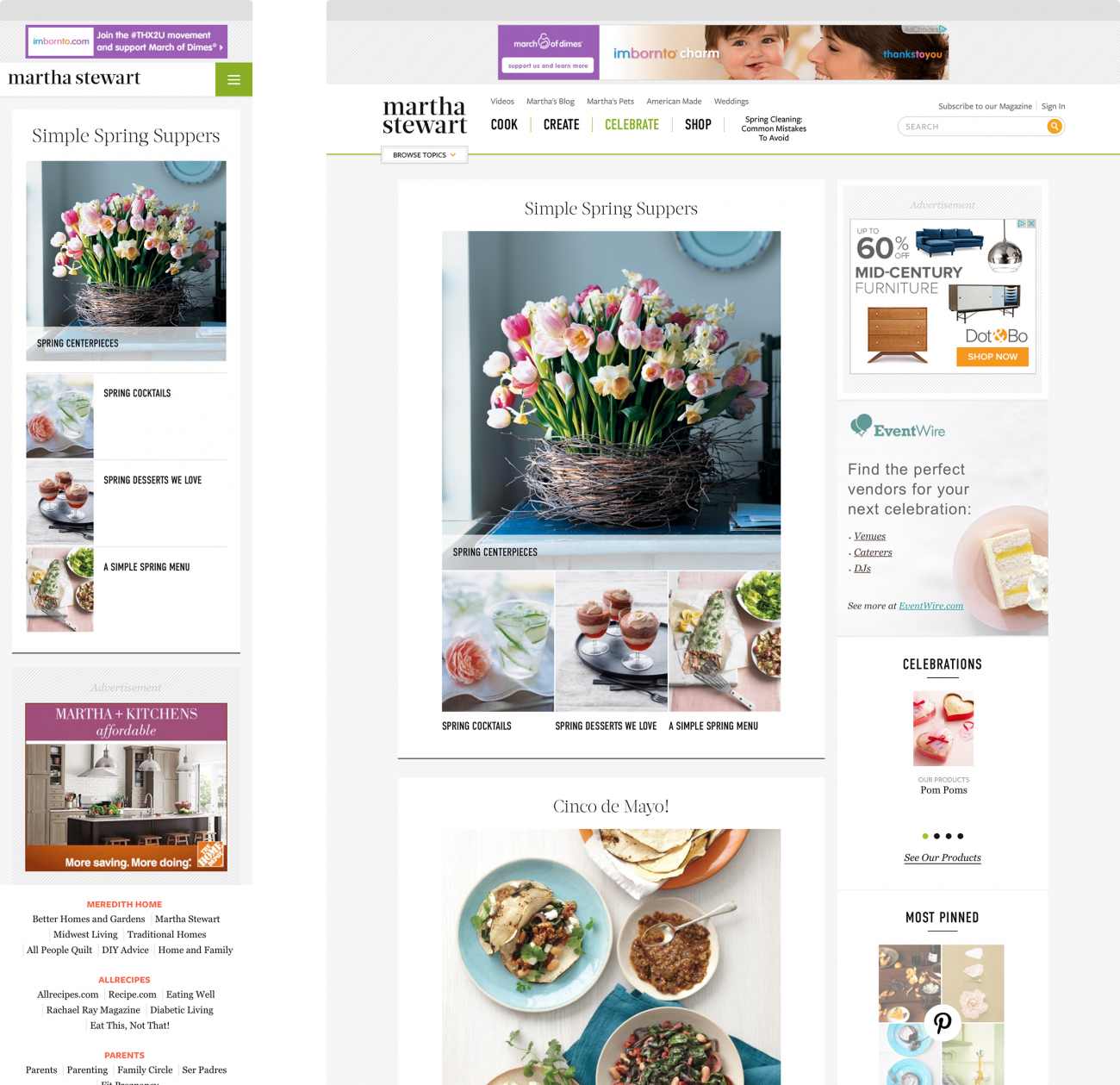 Mockup of the Martha Stewart Living website