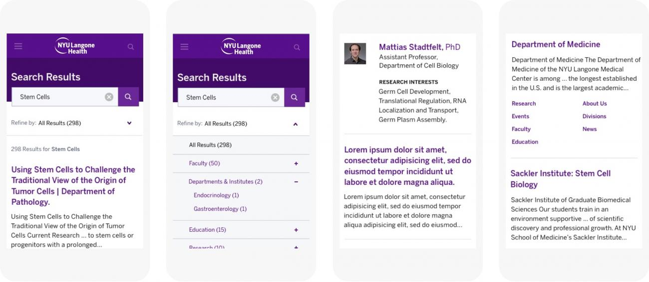 NYU School of Medicine mobile screens