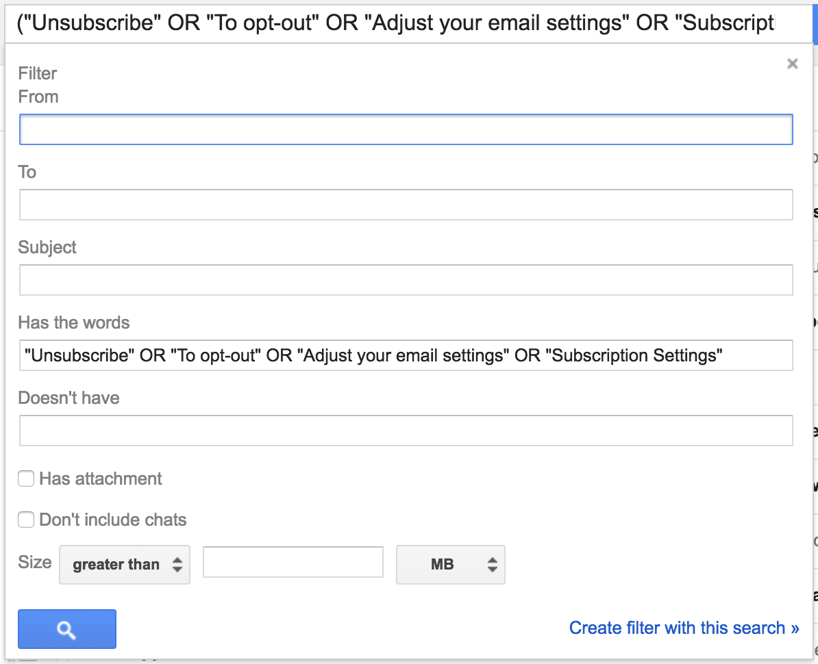 Gmail filter to search the body for subscription keywords.