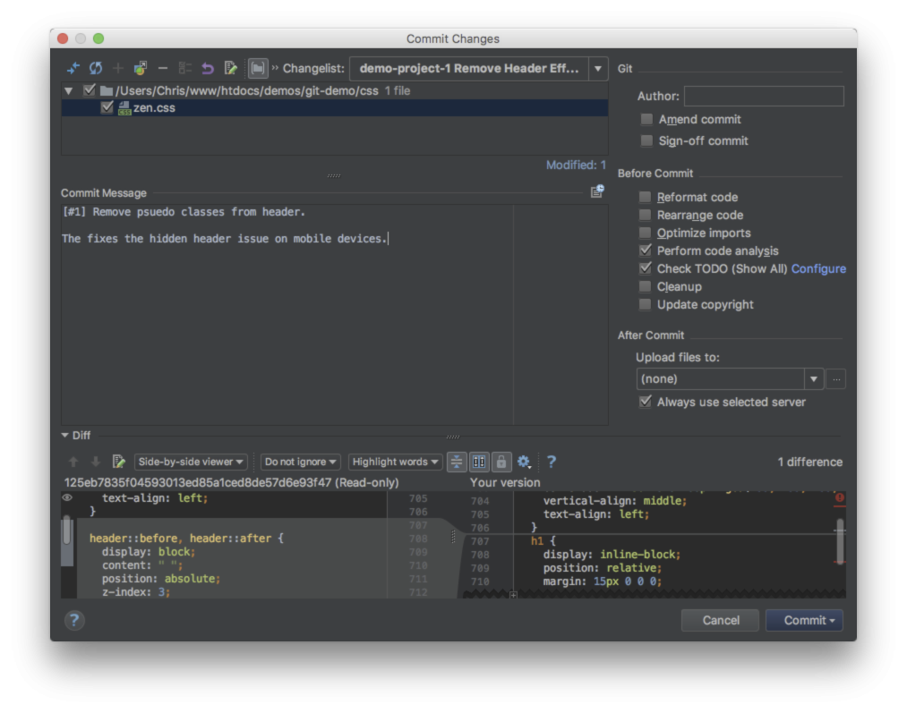 Screenshot of PhpStorm's commit screen showing automatic commit prefixes.