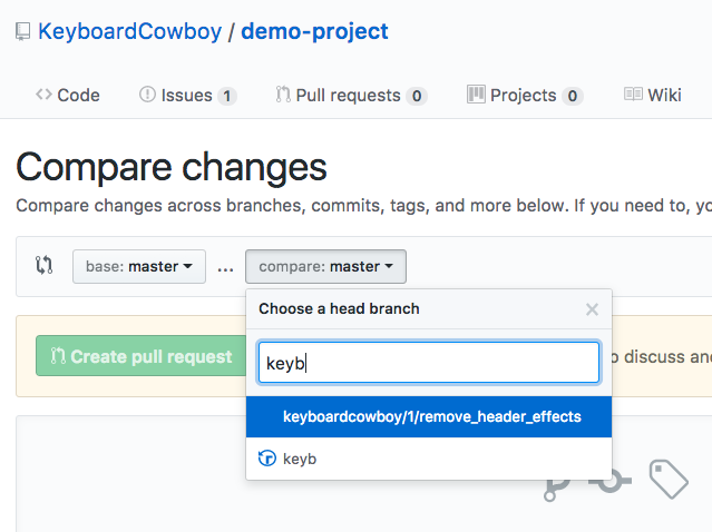Screenshot of someone filtering pull requests in GitHub.