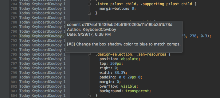 Screenshot of a developer viewing a commit's annotations in PhpStorm.