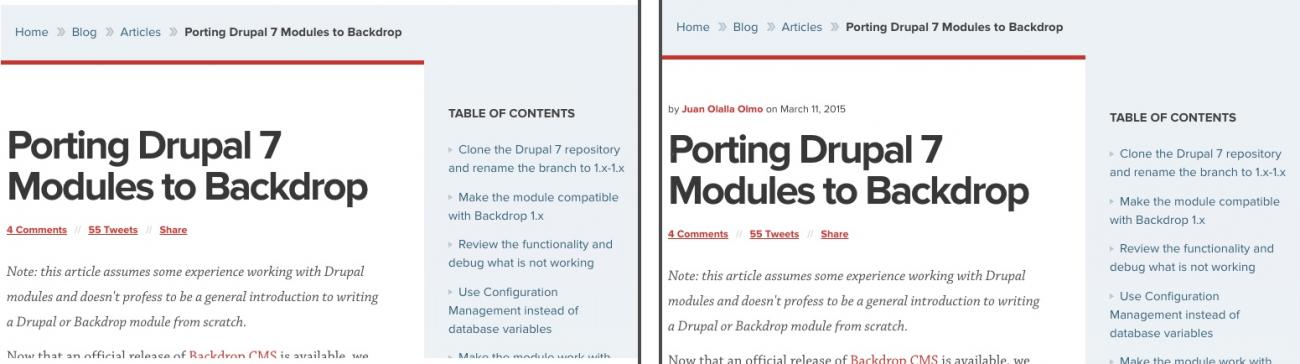 Two article screens with a small design tweak