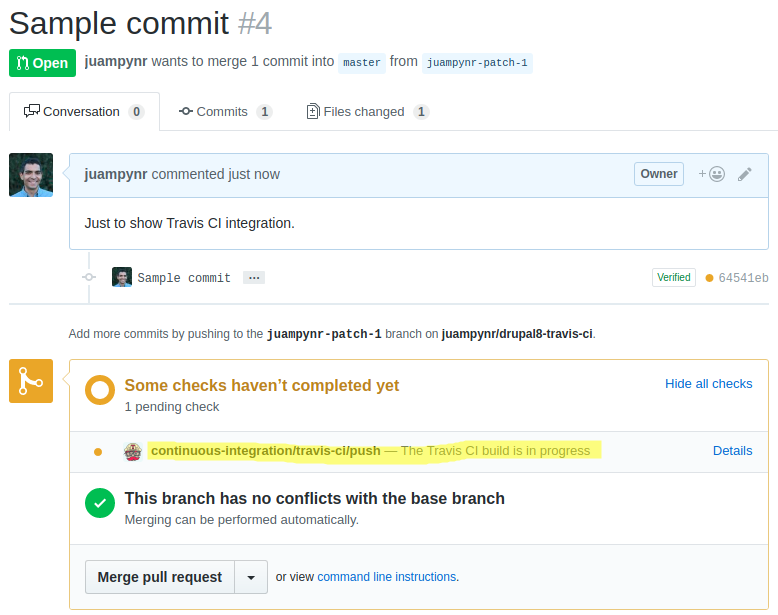 Travis CI pull request