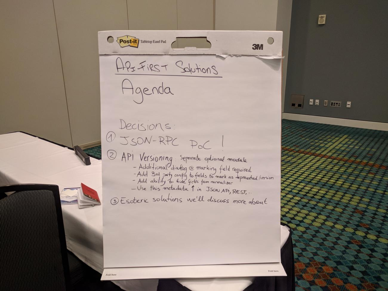 The decision log after finishing the BoF at DrupalCon