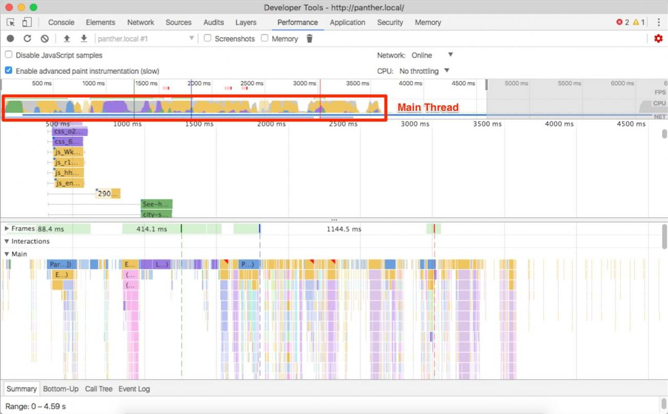 Devtools performance panel with main thread utilization hightlighted