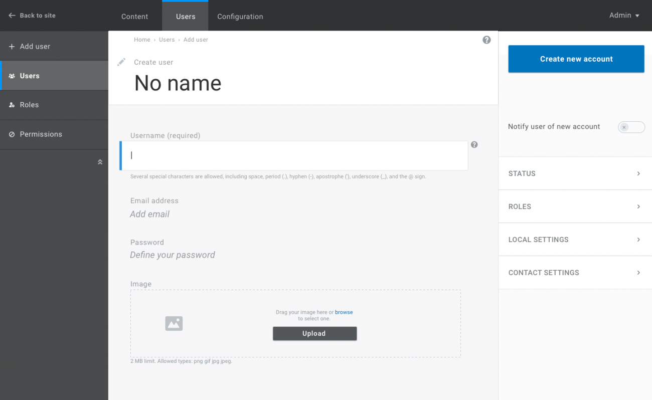 Updated designs for the Drupal administration interface