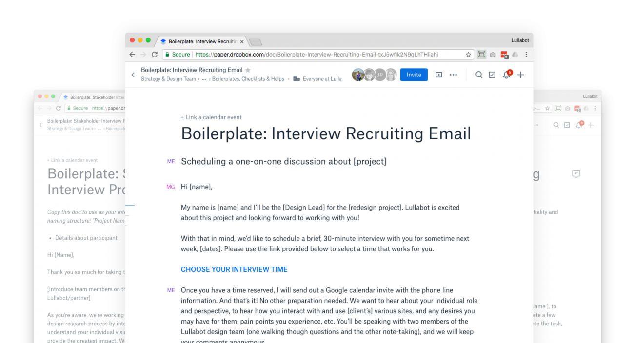 Use collaborative documents to create boilerplates for user tests.