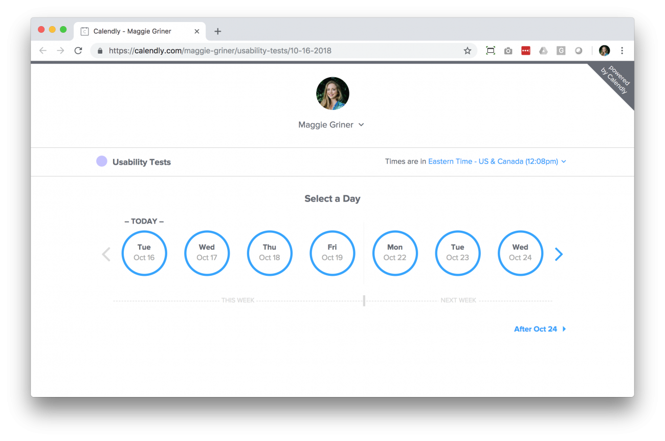 Calendly saves time by allowing users to schedule their interview.