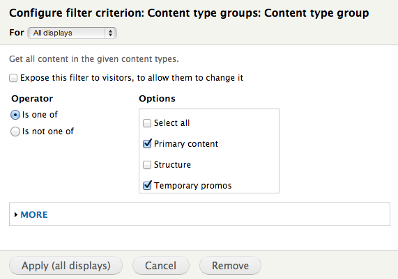 Picture of the Content Type Groups views filter page