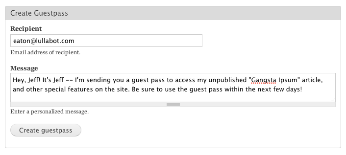 Screenshot of Guest Pass creation