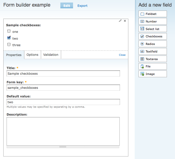 The interface for Form Builder.